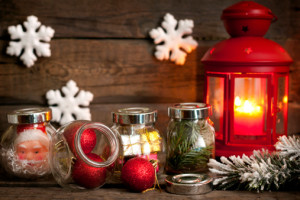 Prepare to Christmas unique concept lantern baubles and snow